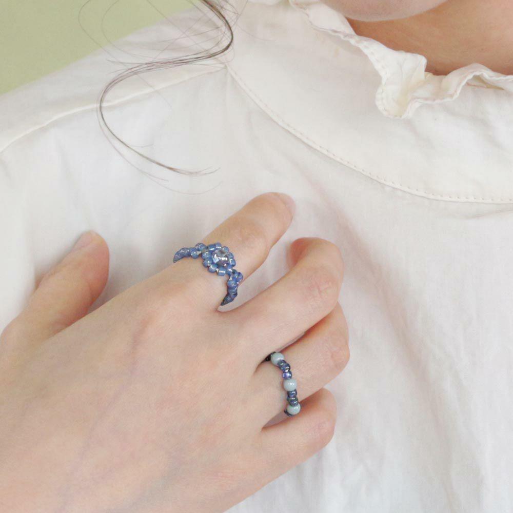 リング ビーズ お花 3本セット フリーサイズ 指輪