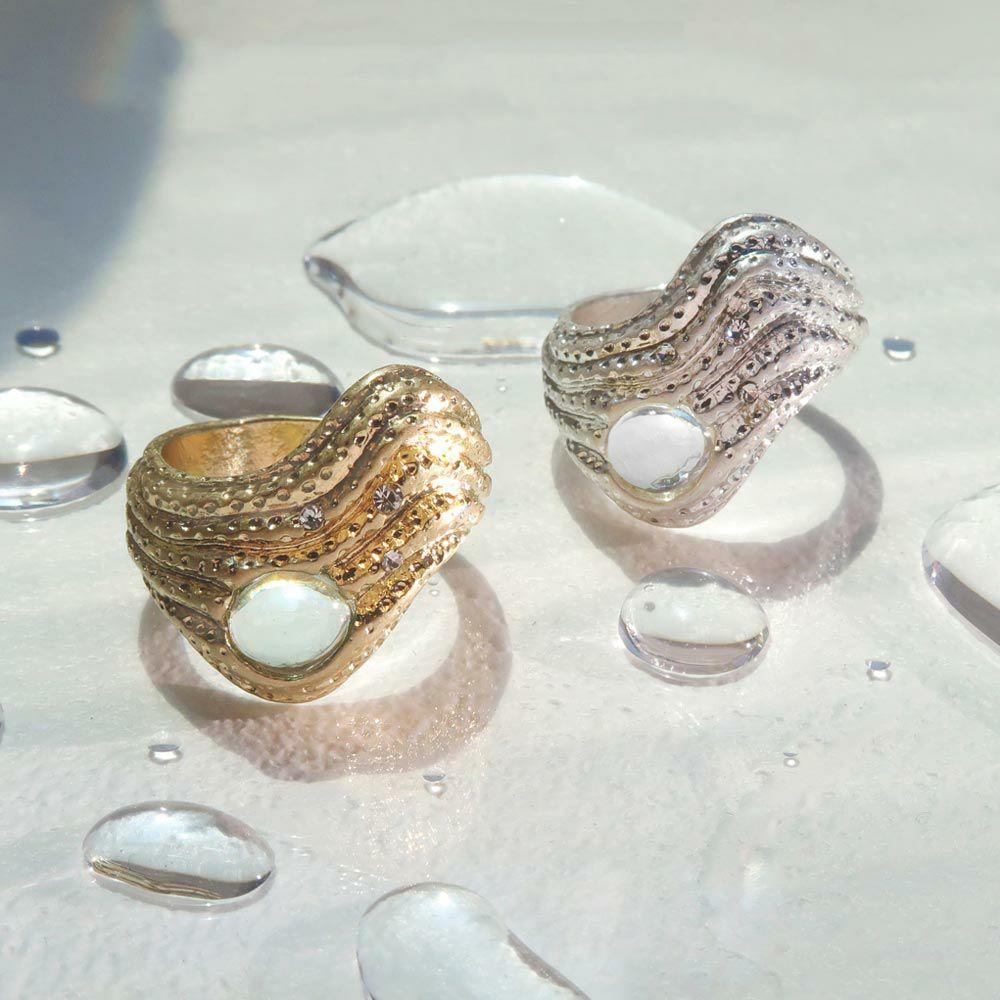 【OLGA】clear sea 渚で揺れる波 リング ニッケルフリー 13号 指輪