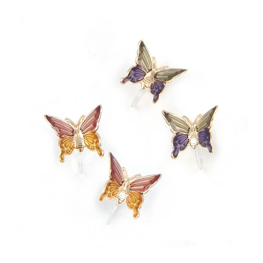 ノンホールピアス ニッケルフリー バイカラー バタフライ 蝶 イヤリング 樹脂タイプ
